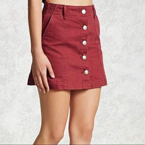 NWT Forever 21 Maroon Denim Skirt